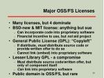 major oss fs licenses