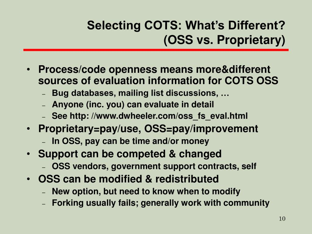 Selecting COTS: What's Different? (OSS vs. Proprietary)
