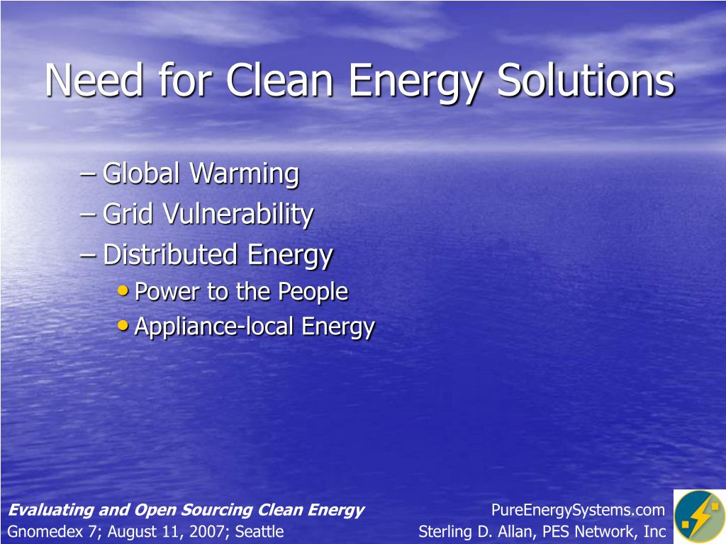 Need for Clean Energy Solutions
