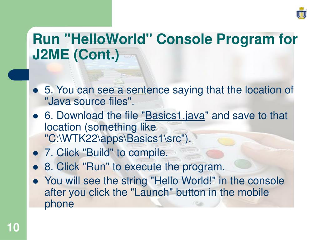 "Run ""HelloWorld"" Console Program for J2ME (Cont.)"