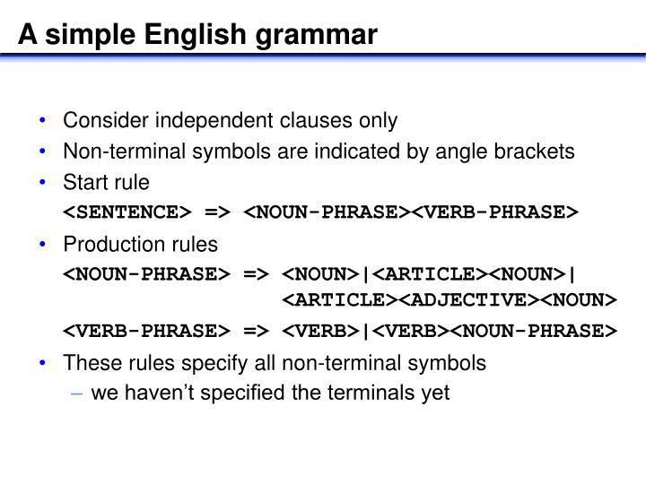 A simple English grammar