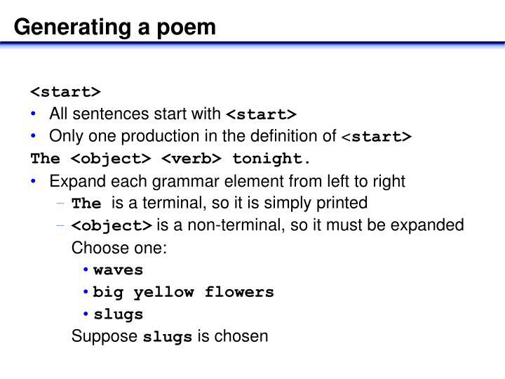 Generating a poem