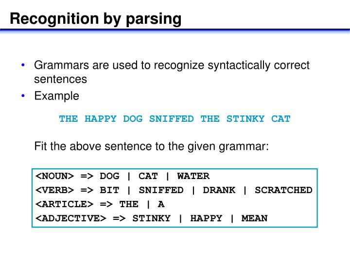 Recognition by parsing
