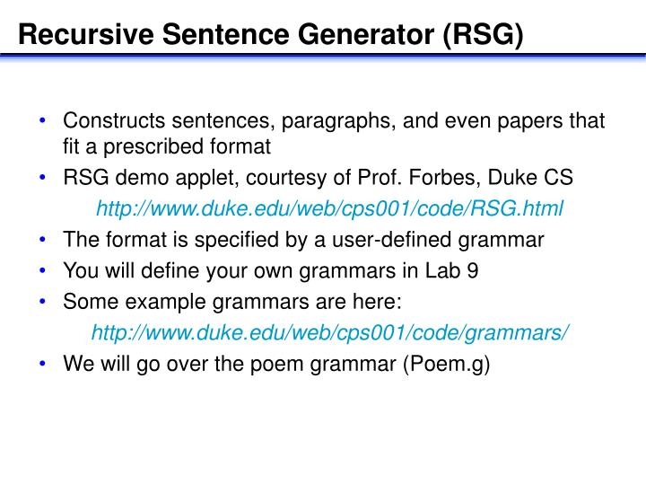 Recursive Sentence Generator (RSG)