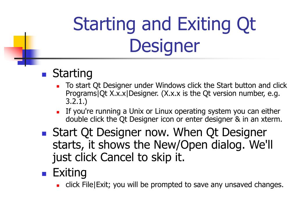 Starting and Exiting Qt Designer