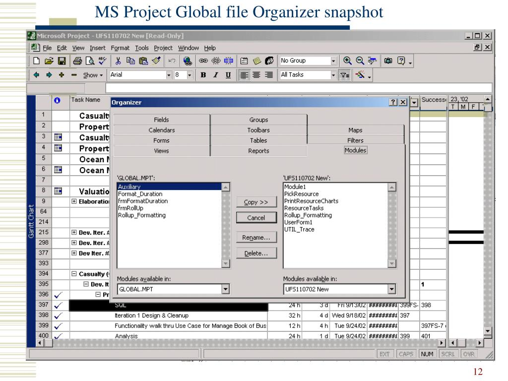 MS Project Global file Organizer snapshot