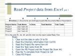 read project data from excel part 1