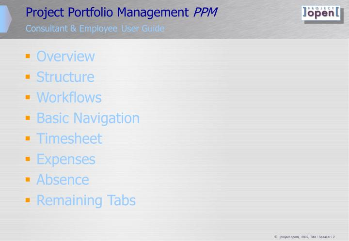 Project portfolio management ppm consultant employee user guide