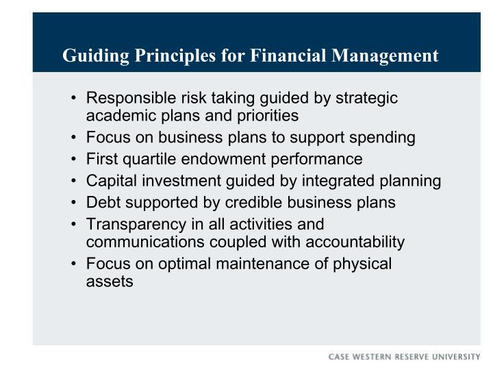 Guiding principles for financial management