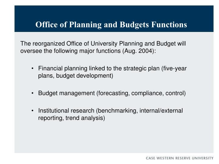 Office of Planning and Budgets Functions