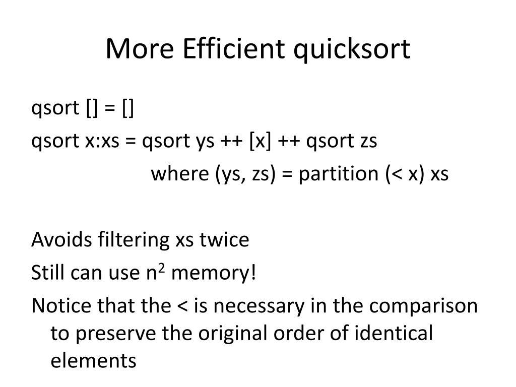 More Efficient quicksort
