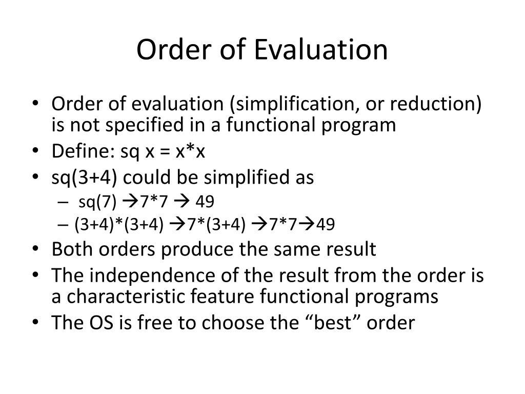 Order of Evaluation