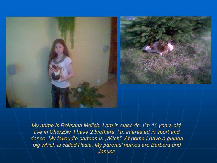 "My name is Roksana Melich. I am in class 4c. I'm 11 years old, live in Chorzów. I have 2 brothers. I'm interested in sport and dance. My favourite cartoon is ""Witch"". At home I have a guinea pig which is called Pusia. My parents' names are Barbara and Janusz."