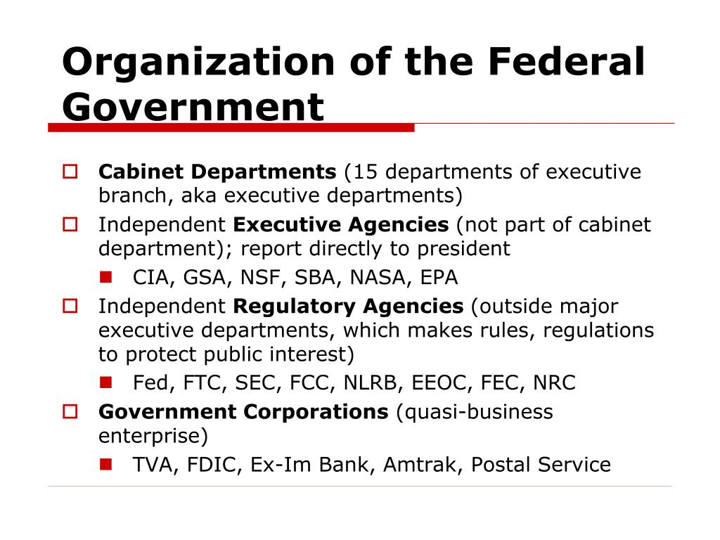 Organization of the Federal Government