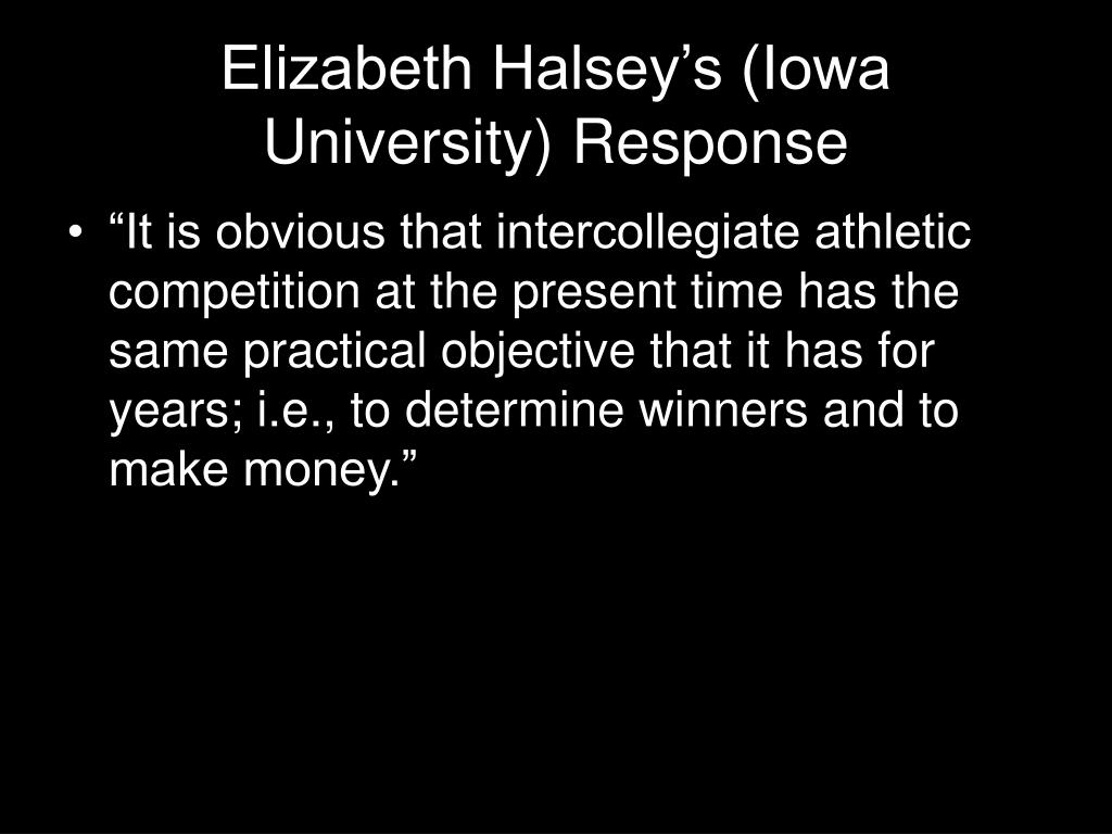 Elizabeth Halsey's (Iowa University) Response