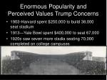 enormous popularity and perceived values trump concerns