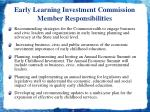 early learning investment commission member responsibilities