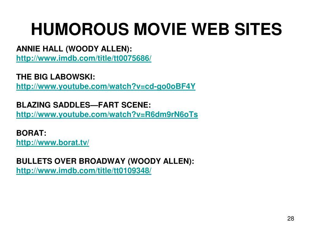 HUMOROUS MOVIE WEB SITES