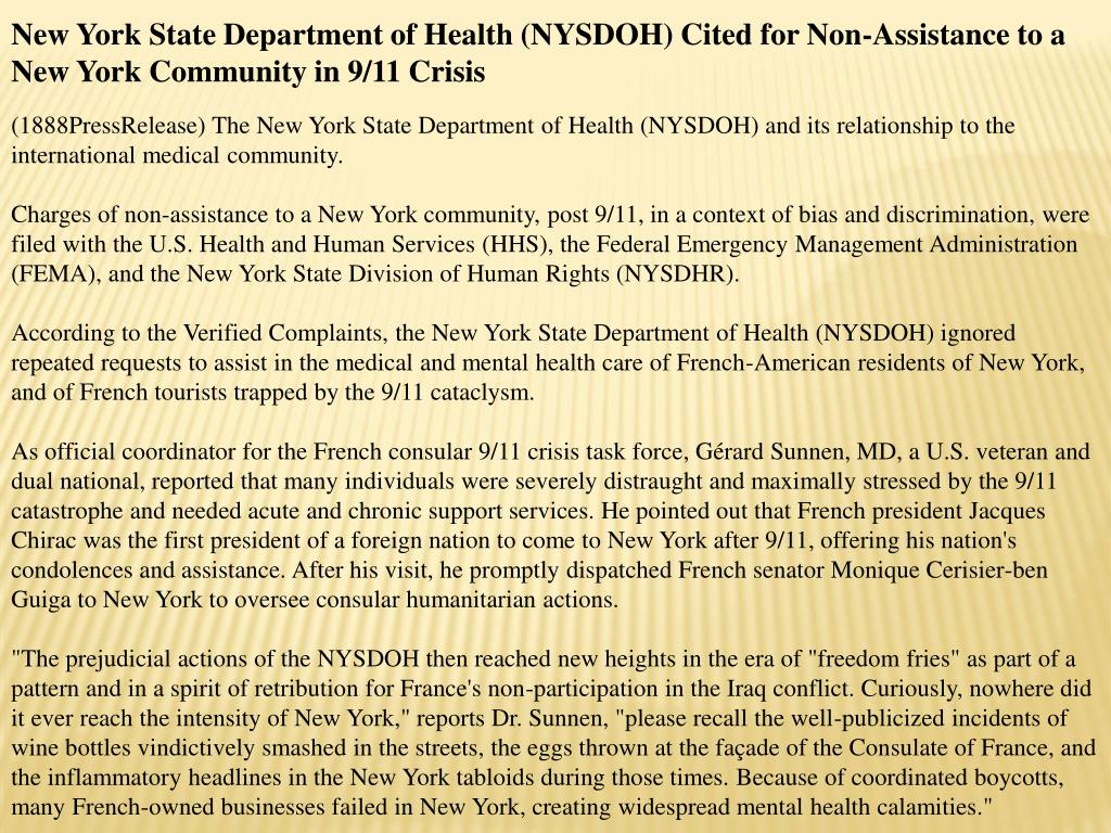 New York State Department of Health (NYSDOH) Cited for Non-Assistance to a New York Community in 9/11 Crisis