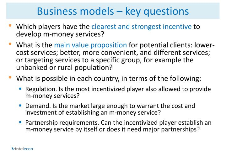 Business models – key questions