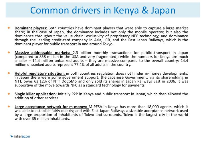Common drivers in Kenya & Japan