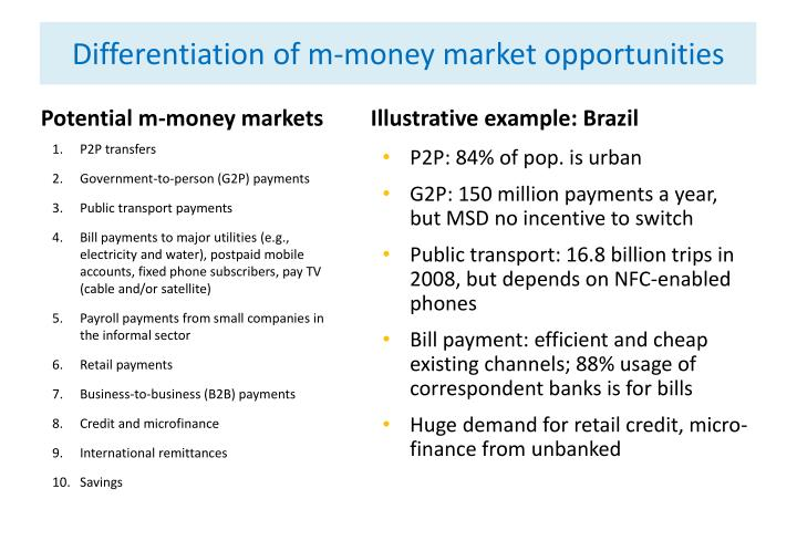 Differentiation of m-money market opportunities