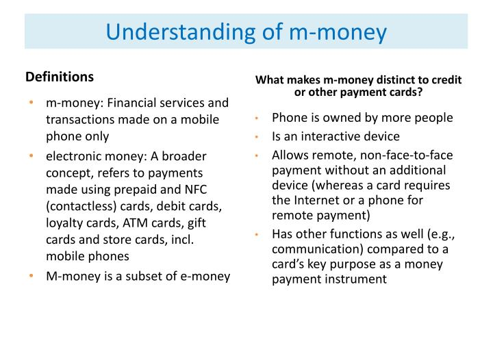 Understanding of m-money