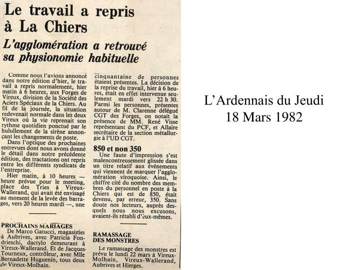 L'Ardennais du Jeudi 18 Mars 1982