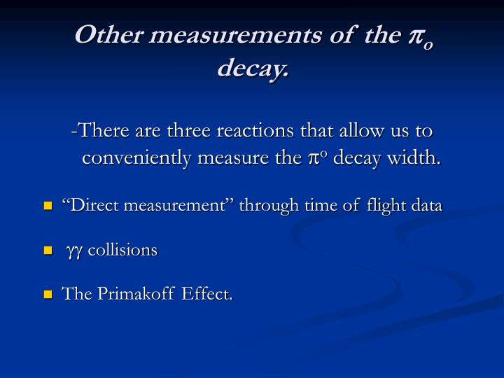 Other measurements of the