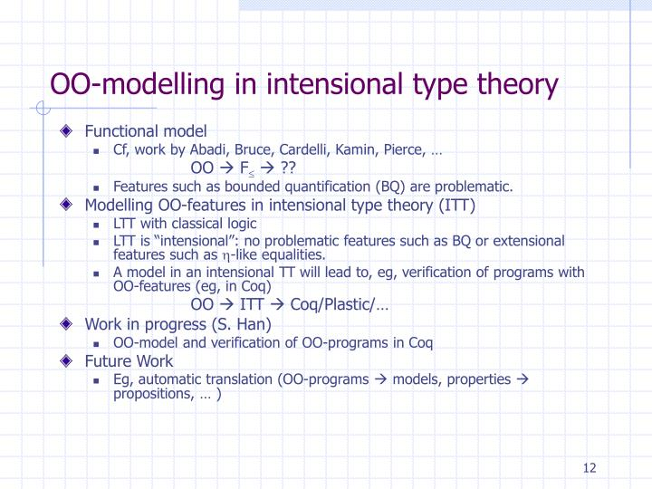 OO-modelling in intensional type theory