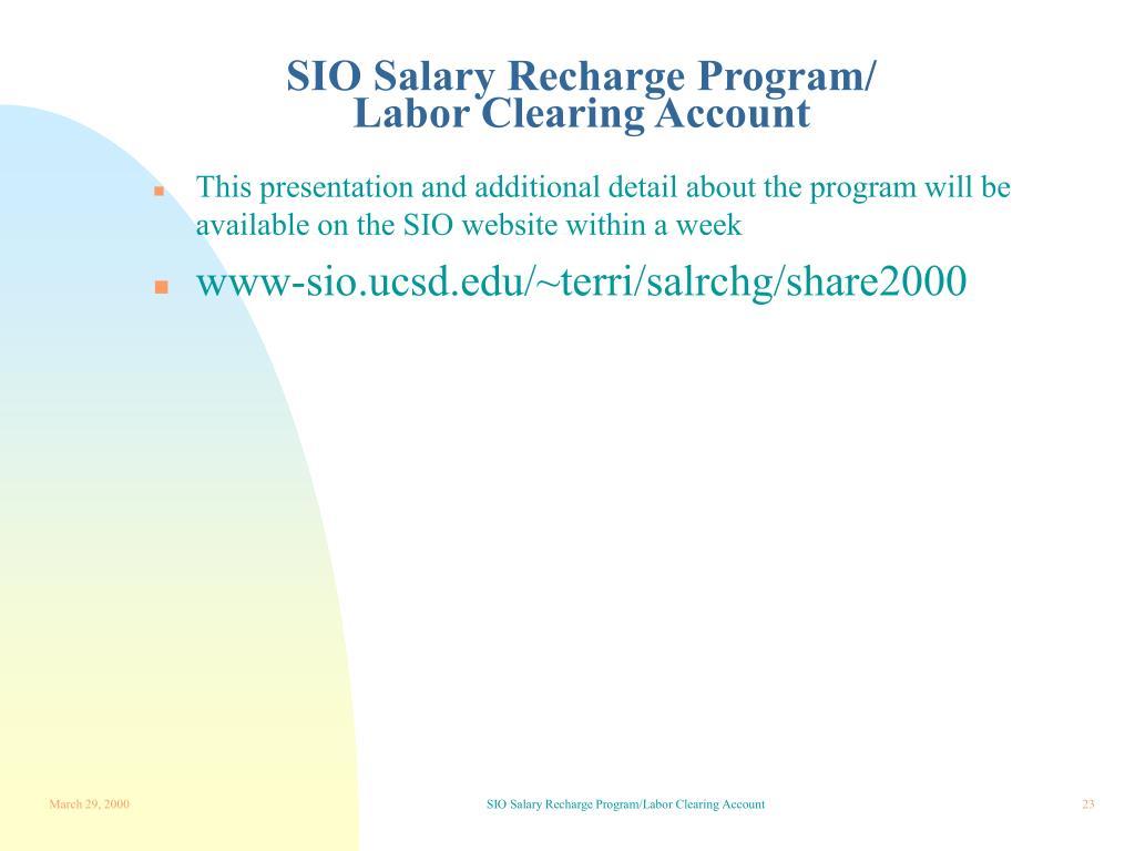 SIO Salary Recharge Program/