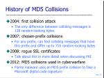 history of md5 collisions
