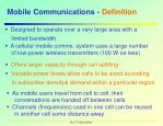 mobile communications definition
