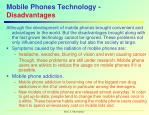 mobile phones technology disadvantages
