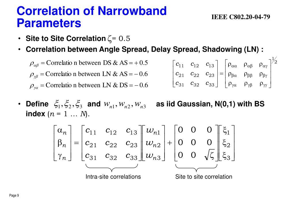 Correlation of Narrowband