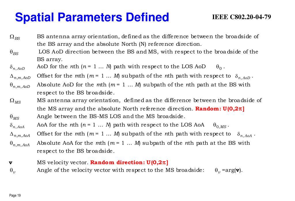 Spatial Parameters Defined