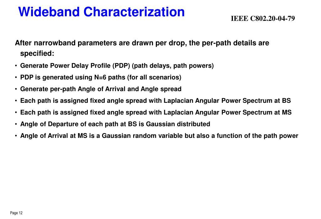 Wideband Characterization