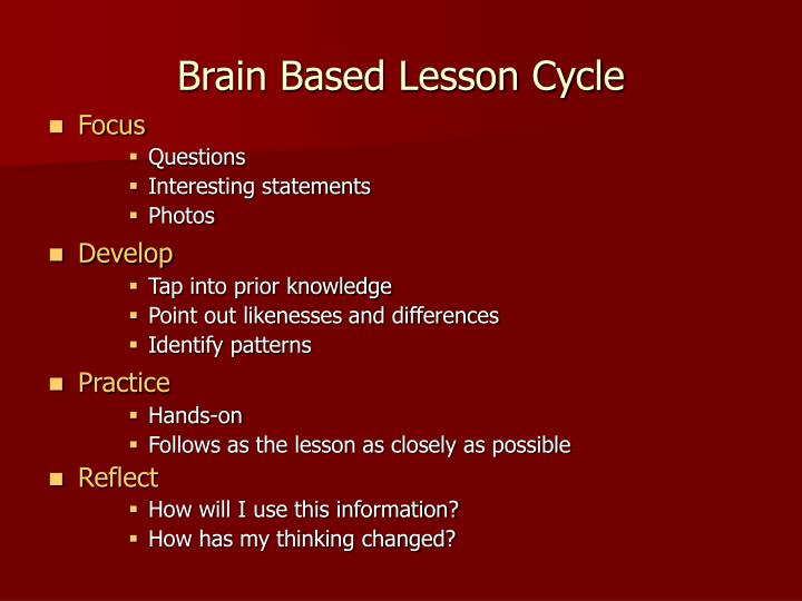 Brain Based Lesson Cycle