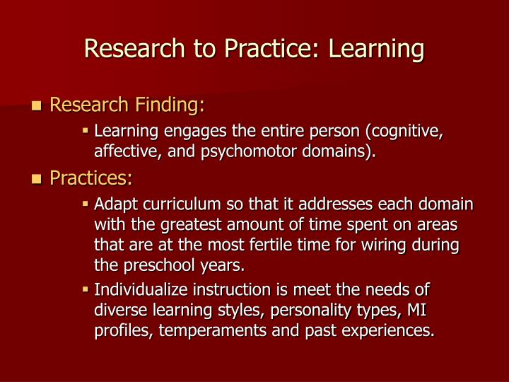 Research to Practice: Learning