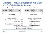 example frequency spectrum allocation in u s cellular radio service