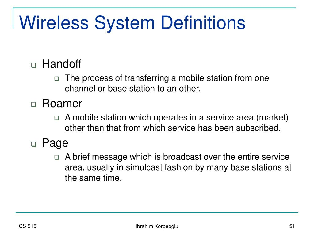 Wireless System Definitions
