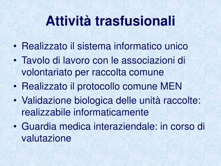 Attività trasfusionali