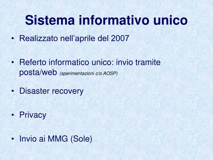 Sistema informativo unico
