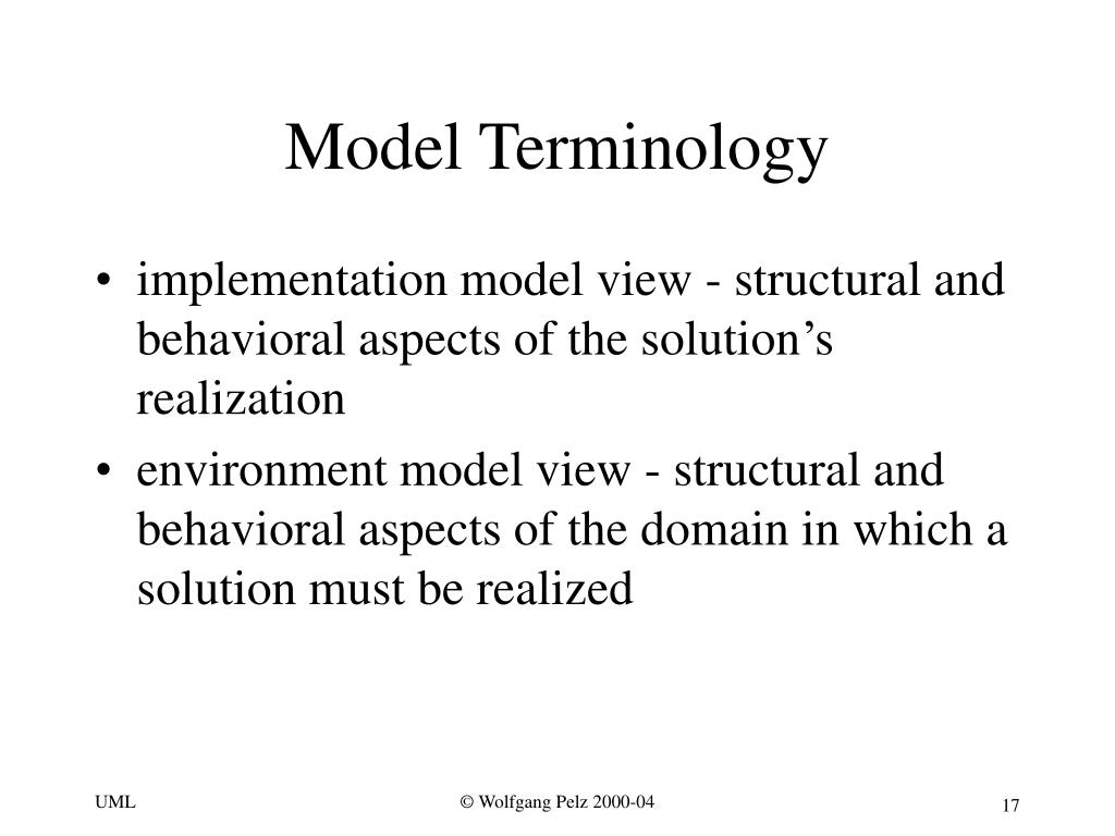 Model Terminology