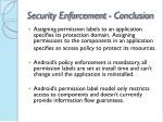 security enforcement conclusion
