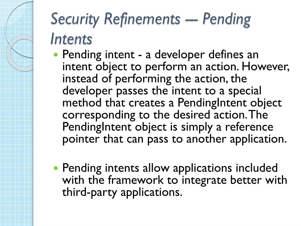 Security Refinements --- Pending Intents