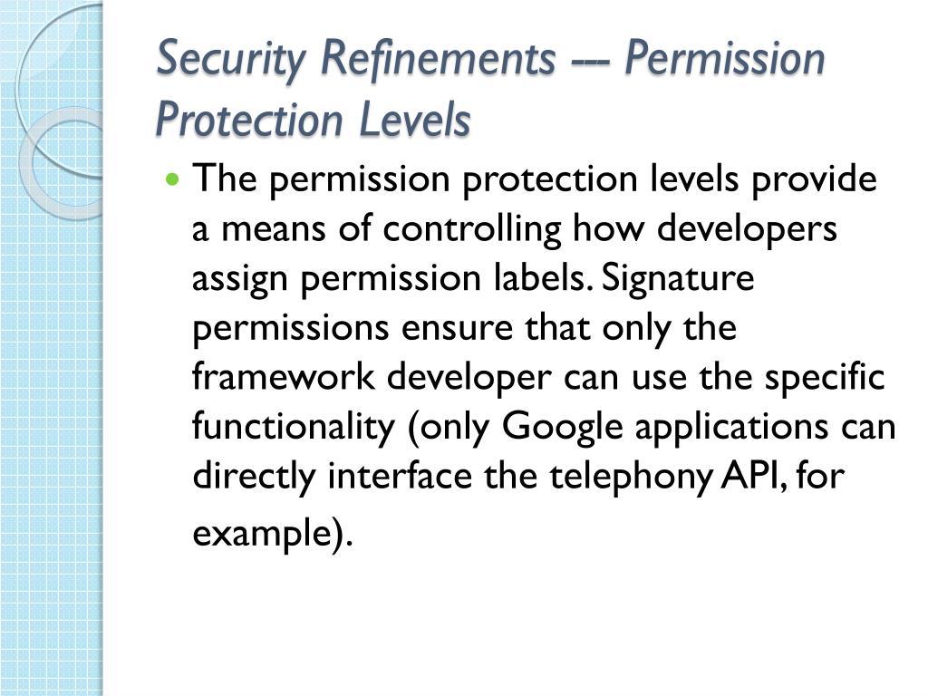 Security Refinements --- Permission