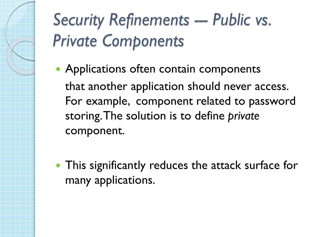 Security Refinements --- Public vs. Private Components