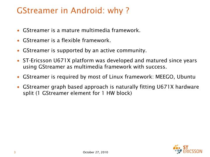 Gstreamer in android why