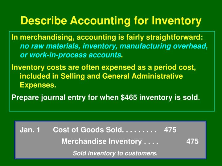 Jan. 1Cost of Goods Sold. . . . . . . . . 475